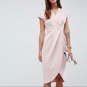 ASOS DESIGN Tux Midi Dress With Satin Detail
